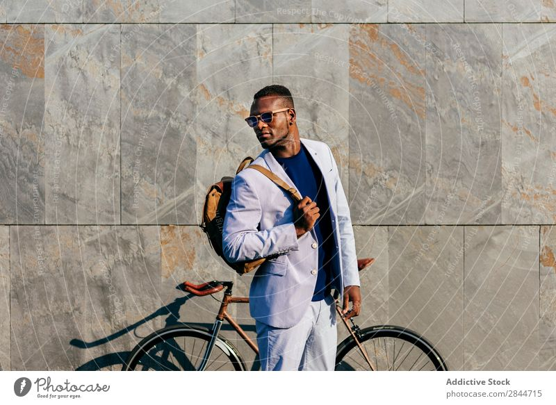 Trendy man with bicycle at street Man Fashion Town Self-confident Bicycle Formal Street Black Businessman Stand vogue African commuting Elegant Transport Wear