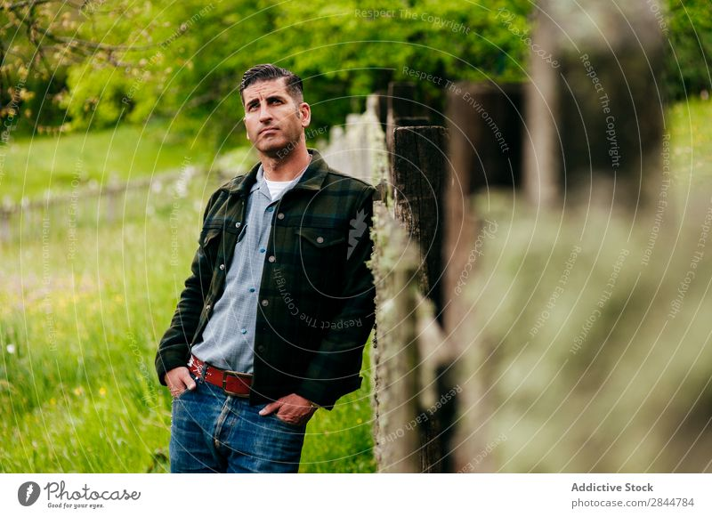 Adult man in the countryside Adults Attractive Portrait photograph Beauty Photography Sit Lean Hand Model Face Human being Easygoing Elegant Style Expression