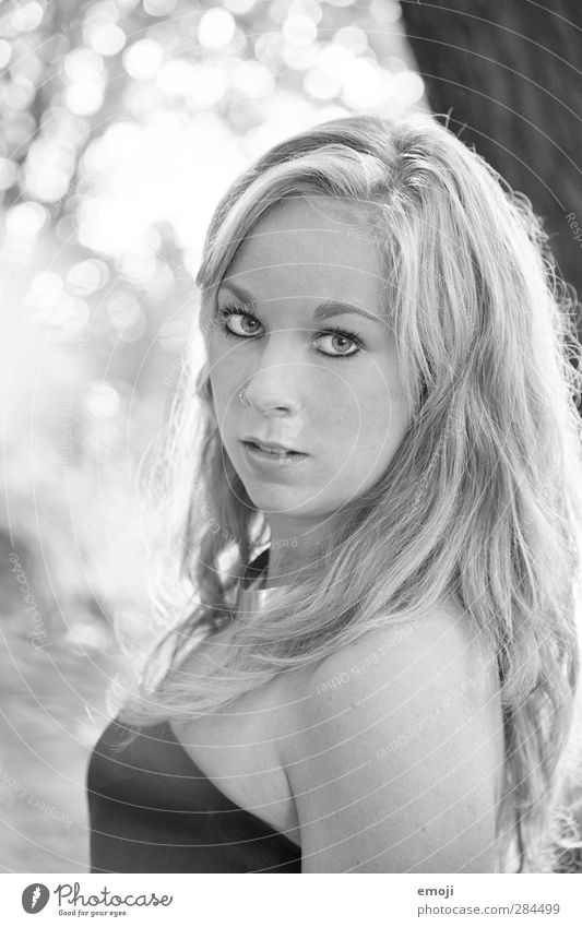 colourless Feminine Young woman Youth (Young adults) 1 Human being 18 - 30 years Adults Blonde Long-haired Bright Beautiful Black & white photo Exterior shot