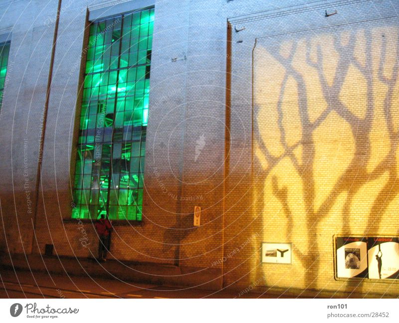 Lighting Building Factory hall Wall (building) Window Yellow Architecture green Orange Projection