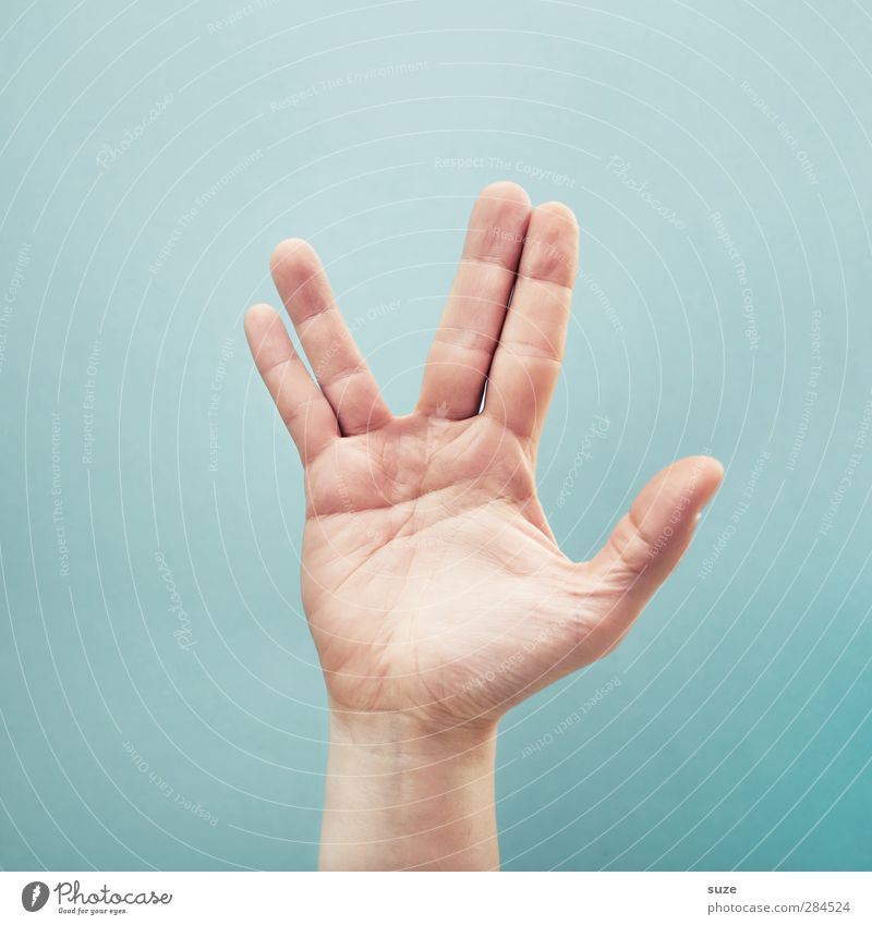 Hand Bright Arm Skin Fingers Communicate Cool (slang) Simple Sign Peace European Hip & trendy Clue Gesture Thumb Light blue