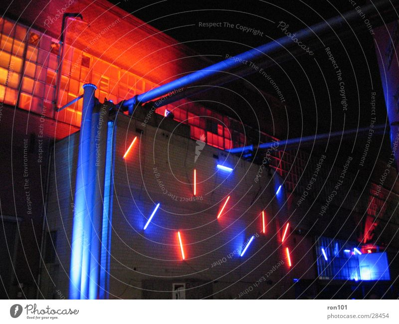 redblue Building Factory hall Lighting Red Lamp Neon light Architecture Orange