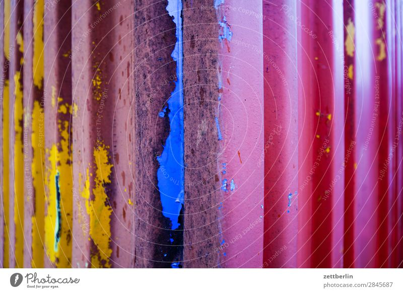 Container (4c) Logistics Metal Varnish Damage Patch Colour Multicoloured CMYK Calibration Play of colours Abstract Background picture Deserted Copy Space