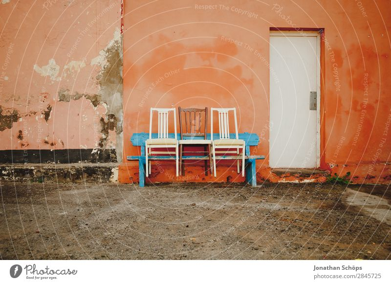 Blue Colour White Wall (building) Funny Copy Space Orange Facade In pairs Door Friendliness Chair Bench Spain Seating Plaster
