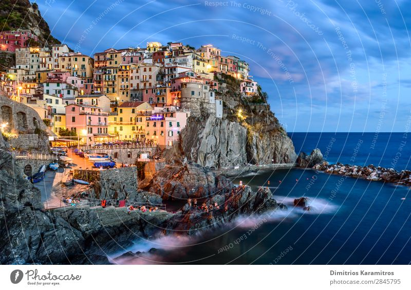Classic Manarola Nature Landscape Water Sky Rock Coast Village Fishing village Old town Architecture Vacation & Travel Beautiful Multicoloured Wanderlust