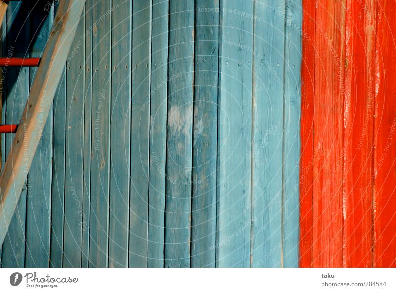 ...PAINT... Art Painting and drawing (object) Architecture Wall (barrier) Wall (building) Stairs Wood Line Stripe Simple Blue Red Design Colour photo
