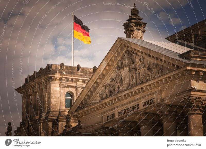 land! Berlin Federal eagle Reichstag Flag Tourist Attraction Politics and state Capital city Seat of government Government Colour photo Exterior shot Deserted
