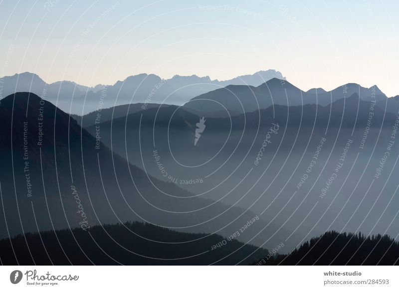 Far Landing Mountain Pre-alpes Alps Herzogstand Far-off places Landscape Fog Shroud of fog Blue Background picture Bavaria Above Peak Snowcapped peak Tall