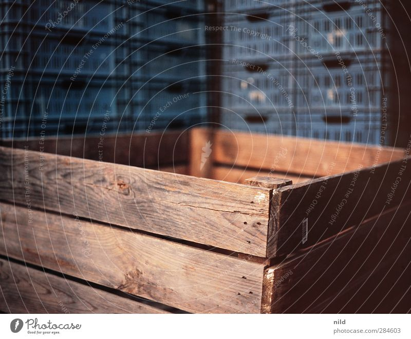 WOODEN BOX Crate Wood Plastic Sharp-edged Blue Brown Wooden box Box Stack Plastic box Keep Wooden board Converse Colour photo Exterior shot Close-up