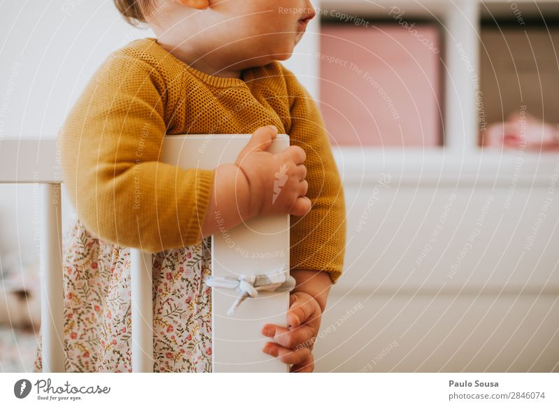 Child standing in a crib Lifestyle Arrange Crib Human being Feminine Baby Toddler Girl 1 1 - 3 years Observe Listening Lie Stand Authentic Simple Natural