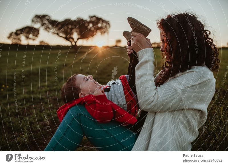 Mother and Daughter Sunset Woman Child Human being Nature Youth (Young adults) Red Joy Girl 18 - 30 years Lifestyle Adults Environment Love Laughter