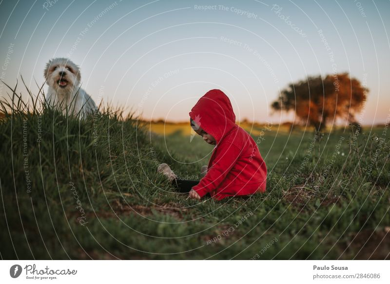 Baby and pet on nature Child Human being Nature Dog Red Joy Girl Environment Natural Funny Happy Together Friendship Lie Happiness To enjoy