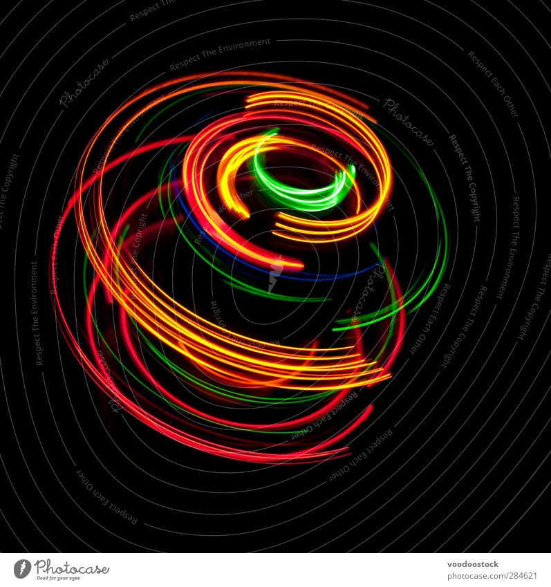Spinning Colors of Light Night life Advancement Future Line Bright Multicoloured Yellow Gold Green Red Black Colour light circles trace colorful glowing