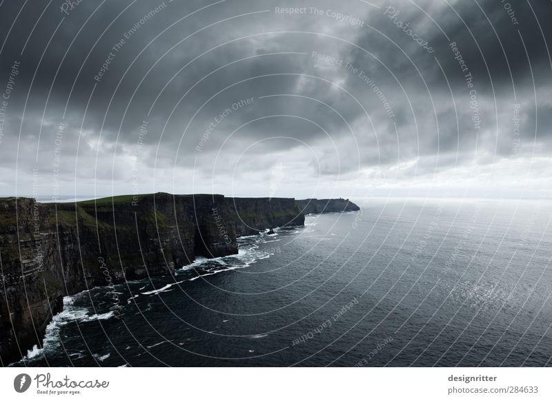 Sky Blue Ocean Clouds Dark Mountain Above Coast Gray Rock Waves Climate Wild Large Dangerous Europe