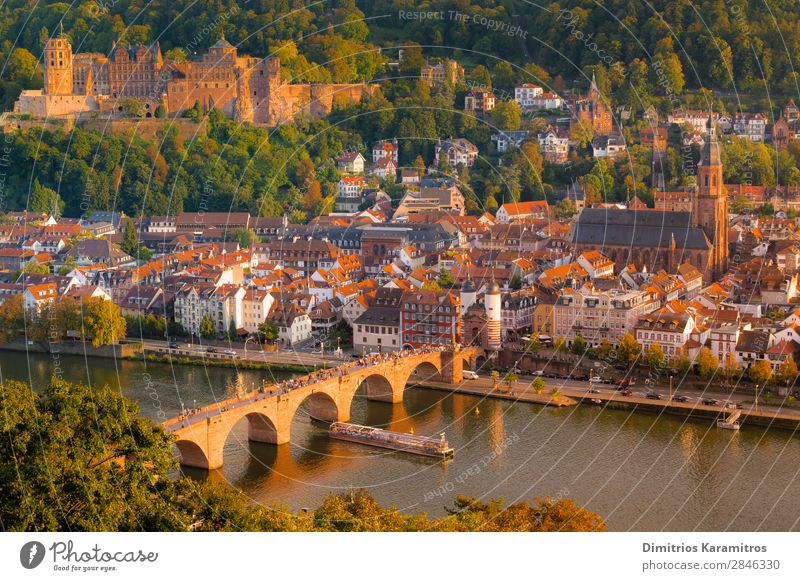 The romantic city of Heidelberg Landscape Water Hill Pond River Small Town Tourist Attraction Vacation & Travel Beautiful Orange Euphoria Adventure Germany