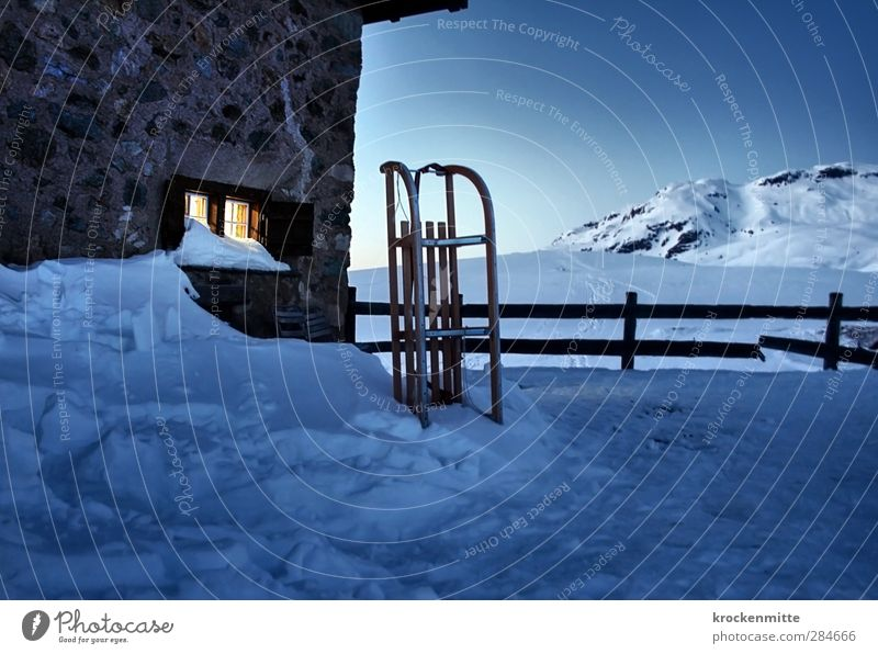 snow break Landscape Sky Cloudless sky Winter Snow Alps Mountain Peak Snowcapped peak House (Residential Structure) Hut Wall (barrier) Wall (building) Window