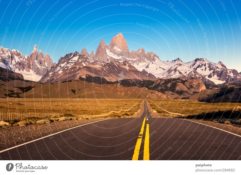Road to Fitz Roy and Torre Mountains Vacation & Travel Adventure Summer Hiking Sports Sky River Small Town Highway Blue Green Pure Argentina Chile dust