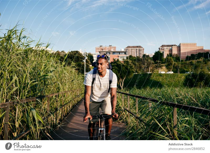 Young man riding bike on pavement Man Bicycle Pavement Grass Bridge Handrail Street Lifestyle Transport Town Cycle City Action Alley Motorcycling handsome