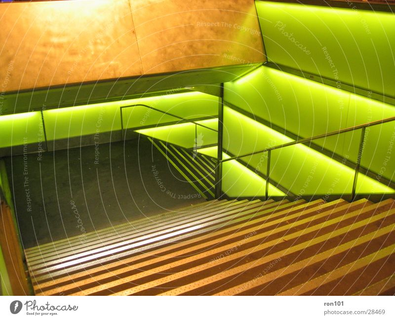 Green Lighting Architecture Stairs Handrail Staircase (Hallway)