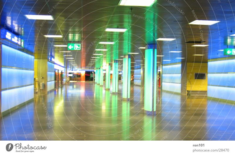 Green Blue Architecture Neon light Passage