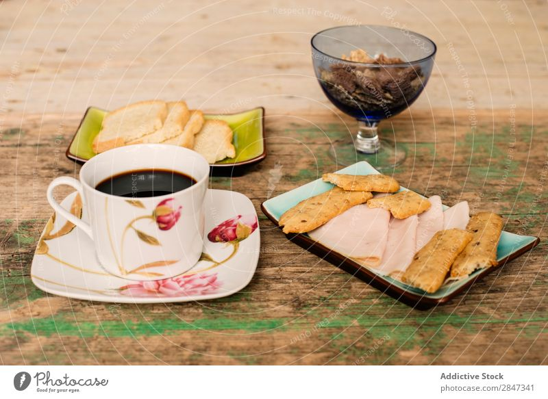 Table with coffee and breakfast food Coffee Snack Breakfast Ham biscuit Bread Toast Food Cup Exceptional assortment Drinking Meal Sweet Fresh Delicious Morning