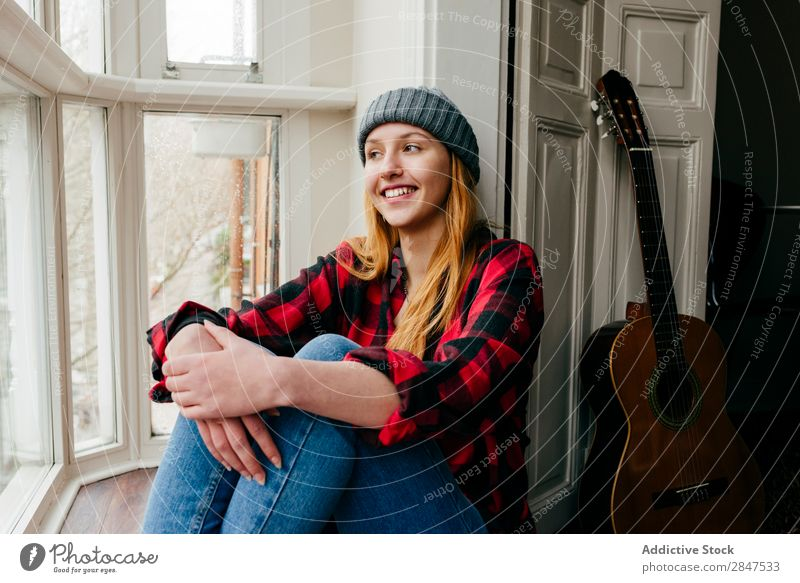 Cheerful blonde woman posing at window Woman Home Youth (Young adults) Beautiful Smiling Hat pretty Beauty Photography Happy Human being Room Cute To enjoy