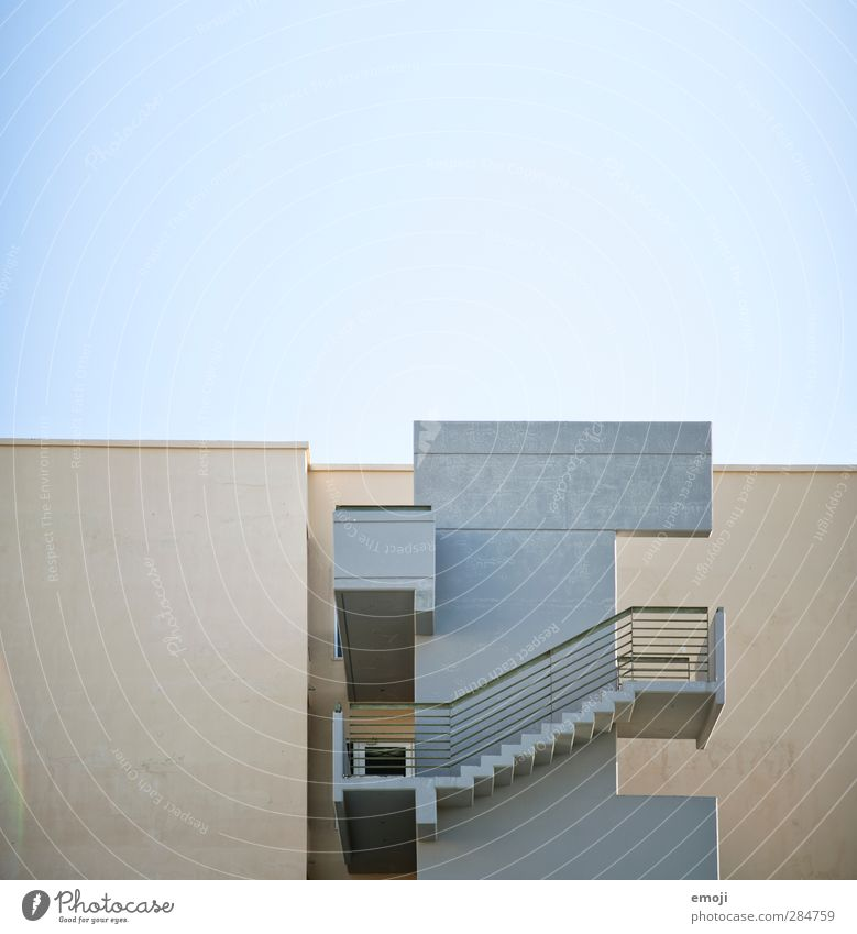 City House (Residential Structure) Wall (building) Gray Wall (barrier) Facade Stairs Flat roof