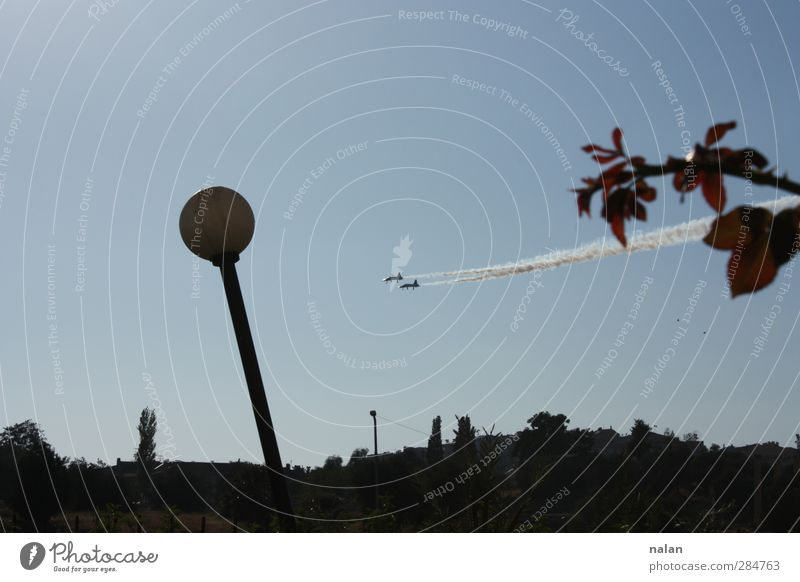 2 fly Androgynous Air Sky Means of transport Aviation Airplane Line Flying Exterior shot Back-light Upward