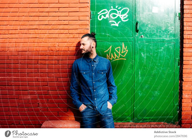 Stylish man posing on street Man Hipster Uniqueness Modern Tattoo Grunge Model Tattooed Town Hip & trendy millennial Lean Summer Stand Denim Shirt Style City