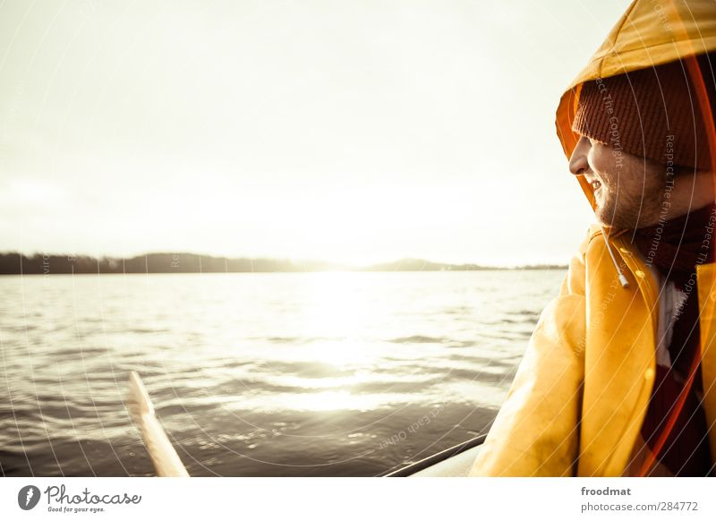 Human being Nature Youth (Young adults) Vacation & Travel Water Sun Joy Calm Winter Relaxation Far-off places Cold Coast Happy Young man Lake