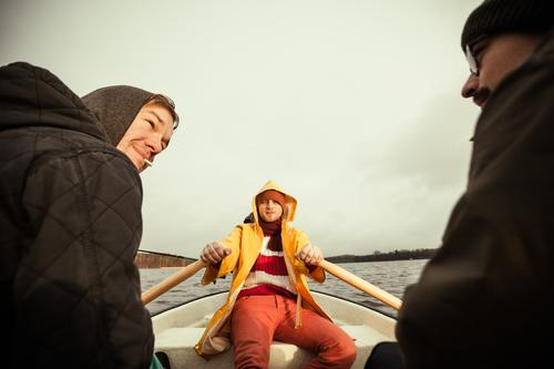 sailor's yarn Vacation & Travel Trip Adventure Human being Masculine Young man Youth (Young adults) Man Adults 3 Water Autumn Winter Weather Bad weather Lake