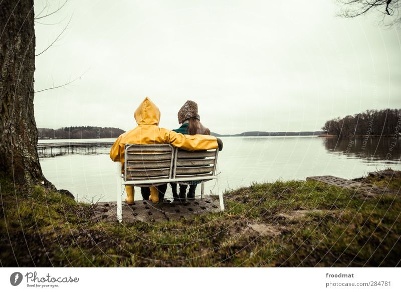 Human being Nature Vacation & Travel Winter Adults Environment Love Autumn Feminine Life Couple Together Sit Masculine Wait Tourism