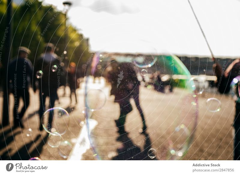 Soap bubble in street Bubble Street Human being Walking Joy City Blow Multicoloured Vacation & Travel London Great Britain united kingdom England Entertainment