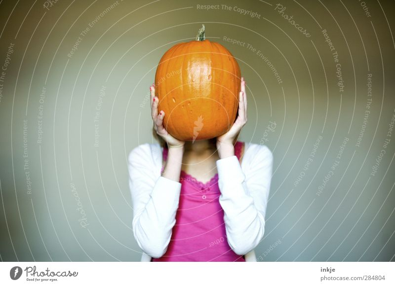 pumpkin head Food Vegetable Nutrition Girl Infancy Youth (Young adults) Life Body 1 Human being 13 - 18 years Child Orange Pumpkin Pumpkin time Hallowe'en