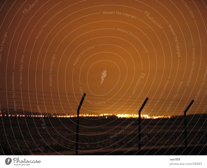 "<font color=""#ffff00"">-==- proudly presents Fence Barbed wire Light Night Long exposure Lighting Airport"