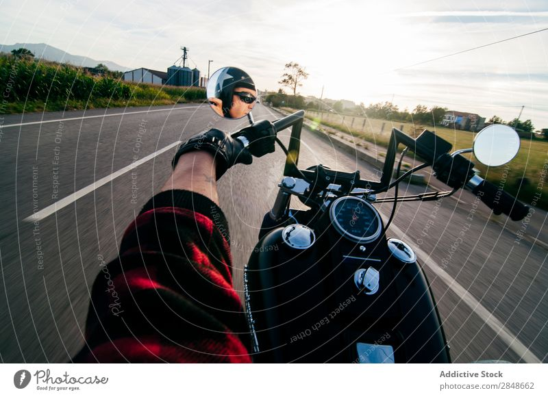 Anonymous man on bike riding road Man Motorcycle Street Landscape Vacation & Travel Transport Freedom Drive traveler Highway Tourism Extreme Movement Speed