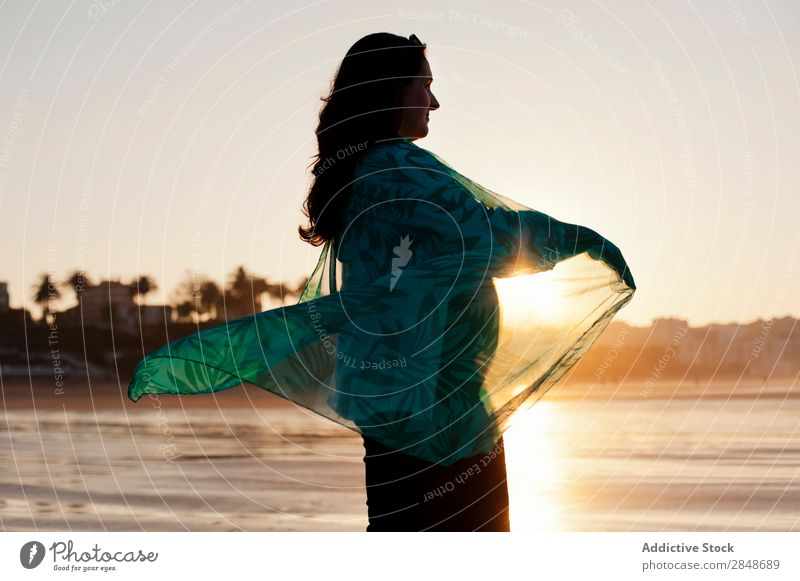 Woman spinning round in sunlight Beach Pregnant Sunset Vacation & Travel pregnancy Nature Summer Exterior shot Relaxation expecting maternity Peace in motion