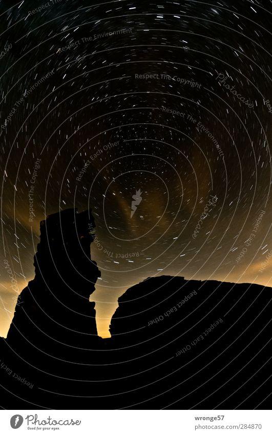 Sky Nature Landscape Black Mountain Moody Rock Stars Eternity Infinity Universe Night sky Starry sky Harz Tripod