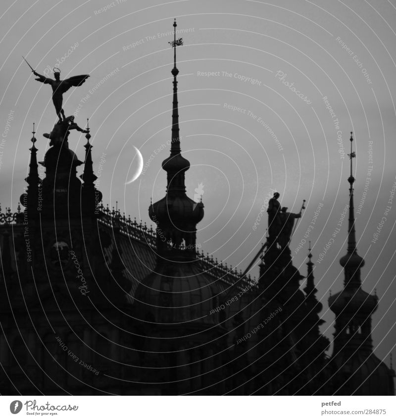 late-night Architecture Old town Church Dome Manmade structures Tourist Attraction Past Domed roof Point Angel Sculpture Moon Merlon Dark Moonlight Night