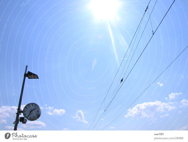 Sky Sun Blue Clouds Lamp Time Transport Cable Clock Station Transmission lines