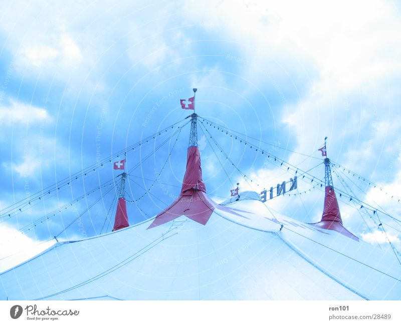 Sky Blue White Red Clouds Tent Circus Circus tent