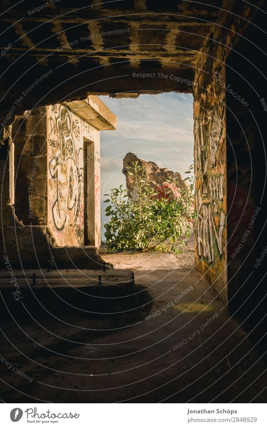 passage in abandoned building Nature Joie de vivre (Vitality) Enthusiasm Brave Truth Hope Religion and faith Belief Death Illuminate Easter Tenerife Ocean South