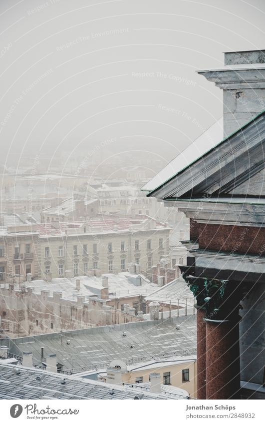 Snow-covered roofs in St. Petersburg Town Capital city Downtown Esthetic St. Petersburgh Winter Winter mood Massive Architecture Cold Russia Fog Shroud of fog