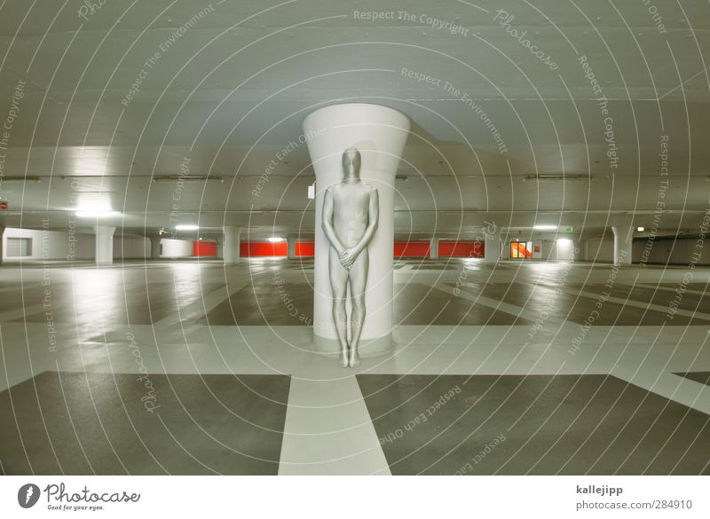 Human being Calm Gray Body Masculine Stand Hide Futurism Statue Silver Anonymous Parking garage Comic strip character