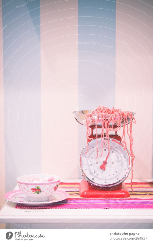 welcome to the candyshop Food Candy Nutrition Diet Cup Scale Kitsch Sweet Pink Addiction strawberry strings String weigh Retro Colours Sugar Candy cane Cavities