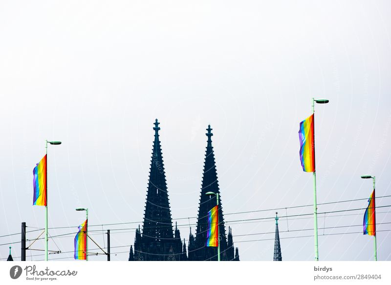 CSDay in Cologne Joy Vacation & Travel Christopher Street Day Event Wind Dome Tower Landmark Cologne Cathedral Rainbow flag Sign Flag Feasts & Celebrations