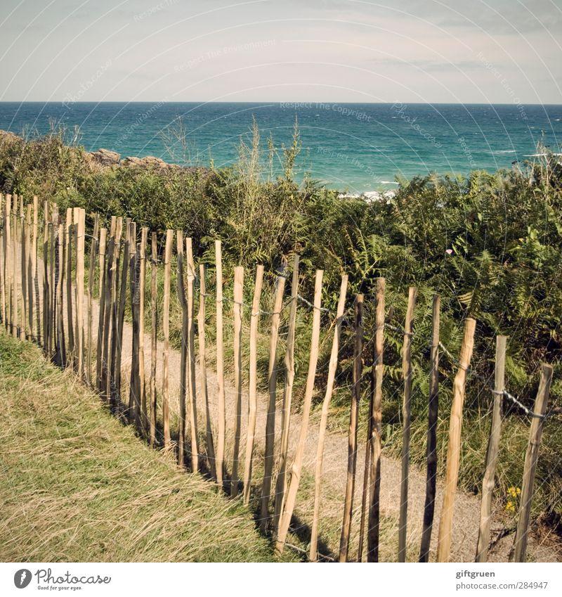 private beach Environment Nature Landscape Elements Water Sky Horizon Summer Beautiful weather Plant Grass Bushes Meadow Waves Coast Beach Ocean Island