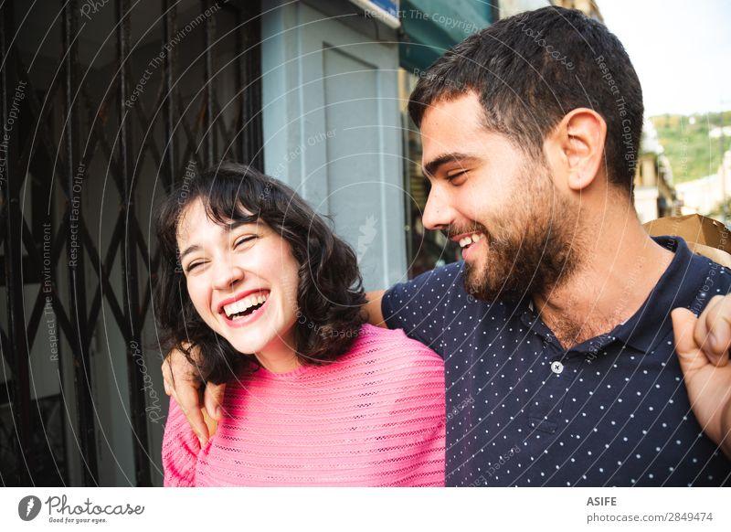 Laughing couple on the street Lifestyle Shopping Joy Happy Beautiful Summer Hiking Woman Adults Man Friendship Couple Street T-shirt Sweater Beard Smiling