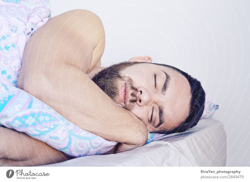 Closeup of sleeping bearded man face in bed Lifestyle Happy Body Face Health care Relaxation Bedroom Masculine Young man Youth (Young adults) Man Adults 1