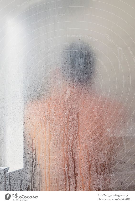 Silhouette of adult man in shower cabin Lifestyle Design Happy Skin Spa Mirror Bathroom Human being Man Adults Hut Drop Fitness Eroticism Hot Modern Muscular